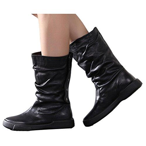 voguees Femme New Casual Bottes d'équitation en cuir avec boutons arrière Noir - Leather Linings