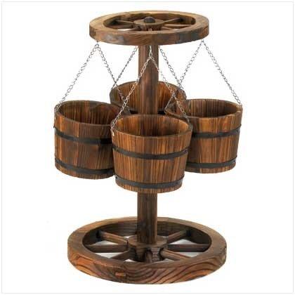 Furniture Creations Holz Wagon Rad Mottoparty Übertopf mit Eimer - Feeder Wagon