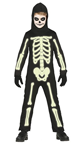 es Skelett für Kinder Gr. 98 - 146, Größe:128/134 (Skelett-kostüm Für Kinder)