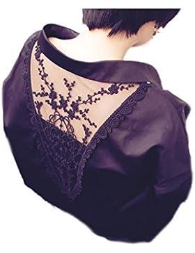 Mujeres V manga larga cuello encaje Patchwork salida hueco Top blusa suelta de oficina