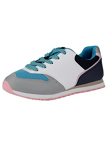 Oodji Ultra Mujer Zapatillas Multicolores de Materiales Combinados, Multicolor, 38 EU/5 UK