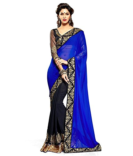 TAGLINE Faux Georgette Saree With Blouse Piece(Tag15006_Peach Free Size)
