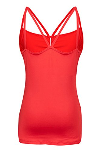 Haililais Gilet Femelle Top Couleur Unie sans Manches T-Shirt Dos Nu Bretelles Top Sexy Haut Bodysuit Froncée Sling Top T-Shirt red
