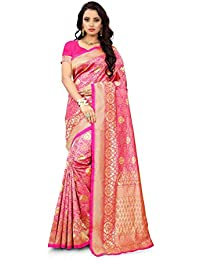 Polaris Production Women's Jacquard Silk Saree With Unstitched Blouse (PP-Rani-34a_Pink)