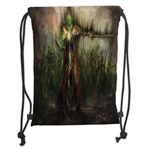 ZKHTO Drawstring Sack Backpacks Bags,Fantasy World,Death King Leading His Army Sword Demon Ghost Revenge Battlefield Print,Green Brown Soft Satin,5 Liter Capacity,Adjustable String ()