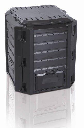 """Komposter \""""Compogreen\"""" mit 380 Liter Fassungsvermögen und zwei Öffnungen zum Füllen und Entnehmen - Farbe: Schwarz"""