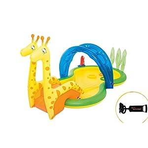 Thole Giraffa Piscinetta Scivolo del Bambino Piscina Gioco Estate Giocattolo Giardino Pompa A Mano 3.38x1.67x1.29m