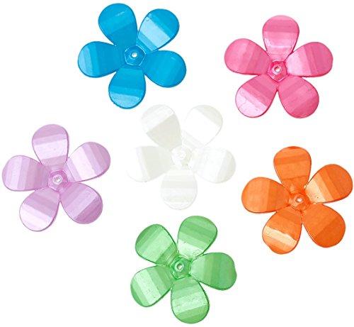 Acryl Endkappen (SiAura Material ® - 10 Stück Perlenkappen Acryl Blume, Bunt Gemischt , 29 x 30 mm)