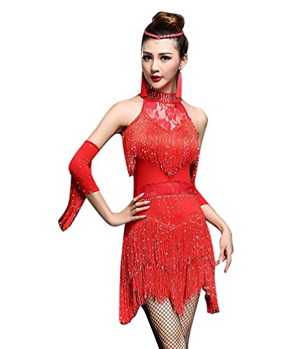 NiSeng Damen Quasten Swing Rhythmus Jazz Latein Dance Kleid Lateinisches Tanzkleid M Rot