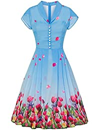 ac12abec8d32 Pretty Kitty Fashion 1940s Sky Blue Floral Chiffon Overlay Retro Tea Dress