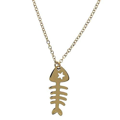 Goldfarbene Kette mit Coolem Anhänger für Frauen - Besondere Halskette mit Fisch Anhänger - Schmuck Geschenke für Sie (Fische Besondere)