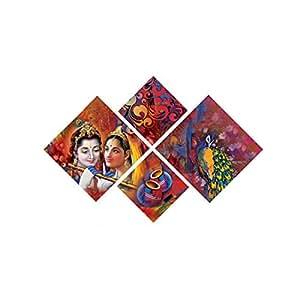 eCraftIndia 'Radha Krishna' Painting (Canvas Print, 127 cm x 43.18 cm, Set of 4, CPGKB49090)