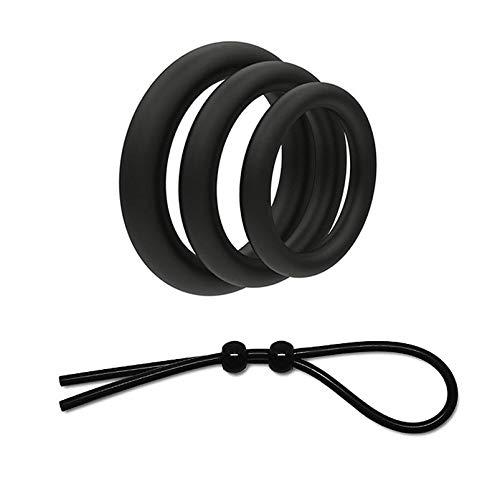 4 Stücke Mann verstärken Ring, Super Soft Silikon Ring für Männer Enhancer Zeit, Multi Funktion Einstellbare Fitness Ringe