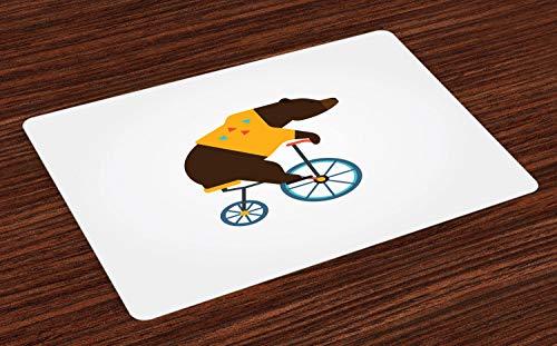 ABAKUHAUS Fahrrad Platzmatten, Große Teddybär-Ikone des Zirkus-Reitfahrrades mit Hippie-Kostüm-Tier-Bild, Tiscjdeco aus Farbfesten Stoff für das Esszimmer und Küch, Gelb Braun (Bilder Von Hippies Kostüm)