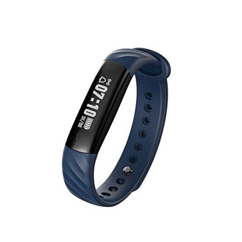 LCLrute Mode Hohe Qualität I5A Blut Sauerstoffdruck Pulsmesser Schrittzähler Smart Watch Band Armband (Blau)