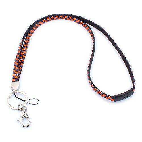 Strass Leder Schlüsselband Umhängeband Lanyard mit Karabinerhaken Schlüsselring für Abzeichenhalter Schlüsselanhänger (Orange+Dunkelblau) (Orange Halskette)