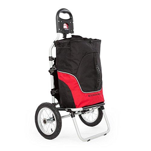 Duramaxx Carry Grey - Fahrradanhänger, Handwagen, Lastenanhänger, Verbindungsschellen für Fahrradkupplung, 12 Zoll-Luftreifen, Abnehmbare Transporttasche, 20 kg maximale Traglast, schwarz-rot