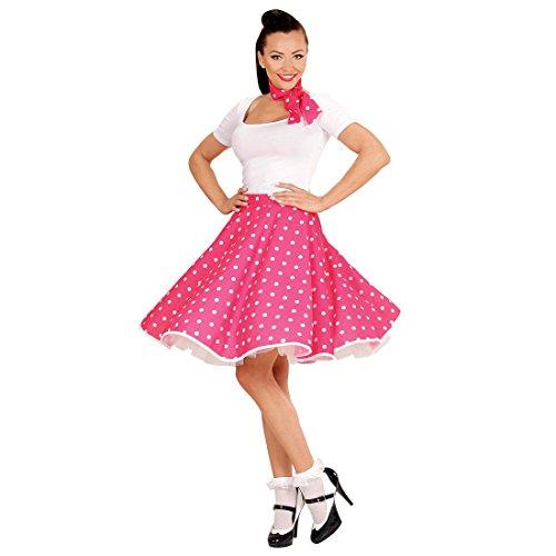 Rock Roll And 50's Kostüme 60's Und (50er Jahre Damenrock pink Tellerrock und Halstuch Petticoat Polka Rock Tellerrock mit Schal Fifties Kostüm 60er Jahre Damenrock Rock n)