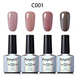 UV Nagellack Gel Shellac Set Nail Polish Set Soak Off UV LED Gel Gellack Nude Farbe von Fairyglo 4 X 10ml-Nude C001