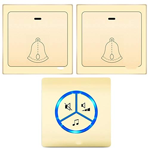 Pager Wireless-Türklingel ohne Akku Self-powered Doorbell Kit 25 Erste polyphone Klingeltöne 4 Lautstärke einstellbar (Color : Gold E) -