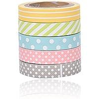 JUNGEN 5 Rollos Washi Tape Arco iris lindo cinta Adhesivas Sticky Washi Cinta Etiquetas engomadas decorativas para los libros de recuerdos Embalaje del arte o del regalo