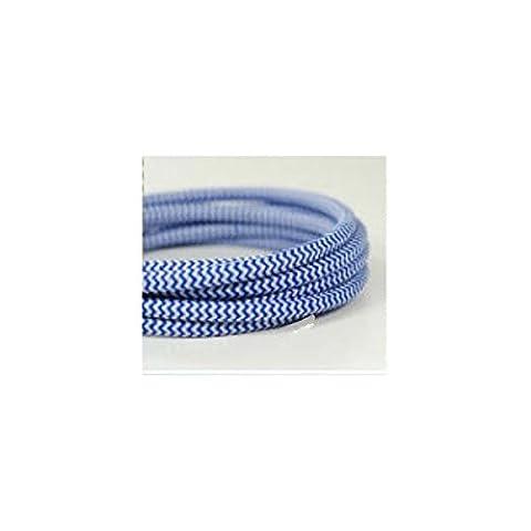 Fil électrique tissé fresque bleu/blanc vintage look retro en