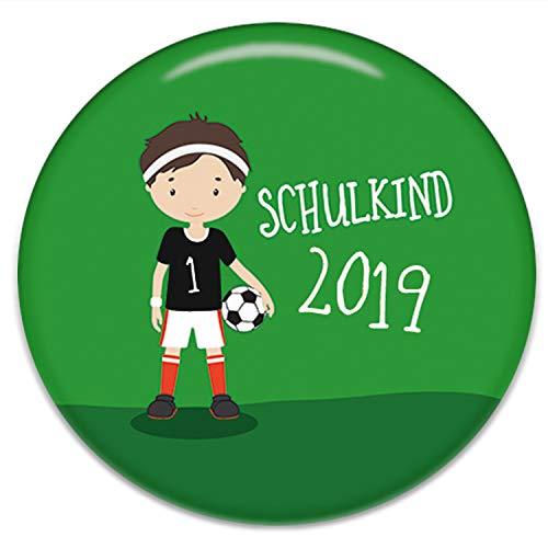 Polarkind Button Pin Anstecker Fussball Schulkind 2019 Geschenk zum Schulanfang Fußball Junge 38mm Handmade (Fußball-buttons)