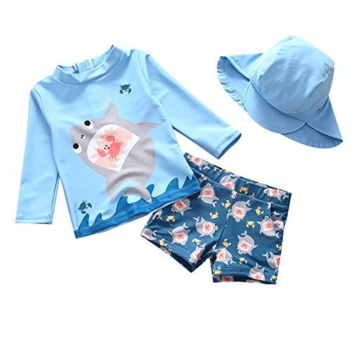 LIUONEXI Mädchen Jungen Hai Langarm Badeanzug mit Hut, Baby Bademode Schwimmbekleidung UV-Schutz Bade-Set