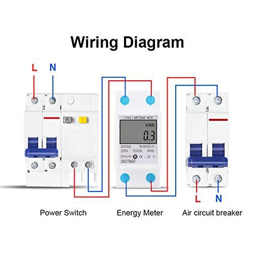 fdghhgjgtkuyiuy Heißer SINOTIMER Leistungsaufnahme Energie Watt Amp Volt Meter Analyzer KWh AC 230 V Digitaler Stromverbrauch Monitor Wattmeter