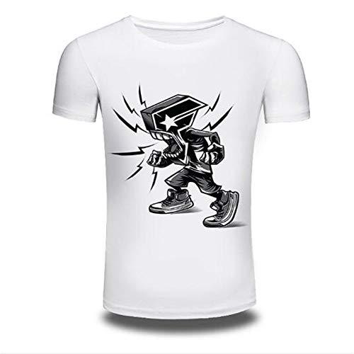 Sommer Kurzarm T-Shirts Top T Bluse Beiläufige Dünne Sport T-Shirt Männer Jungen T-Shirt Top,3D Digitaldruck - A3 weiß - AM 6-tier-system Bin