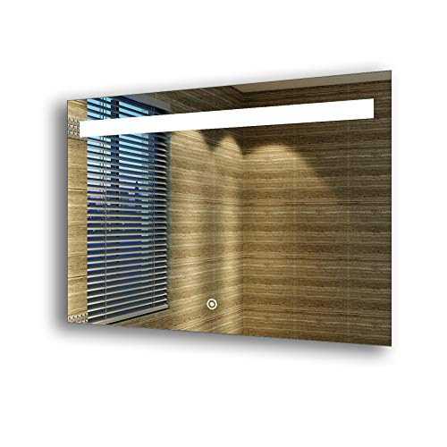 sunnyshowers LED Badezimmerspiegel mit energiesparender LED-Beleuchtung kaltweiß IP44 [Energieklasse A+] 100x70cm beschlagfrei -