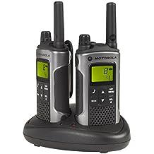 Motorola T80 - Walkie-Talkie (pantalla LCD, alcance hasta 10 km), negro y gris