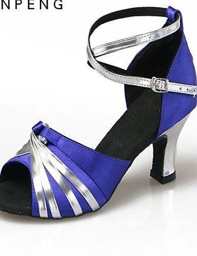 shangyi pas personnalisables–talon compensé–femme–satin–Latin - sliver and blue