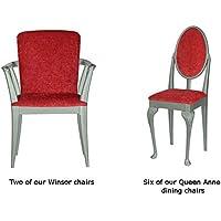 High Street Design Queen Anne Sedia da pranzo set in argento con pilastro cuscini di tessuto, colore: rosso