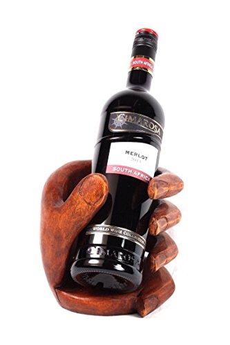 Weinflaschenhalter Buddha Faust aus Suar Holz Handarbeit Wein Halter Geschenk