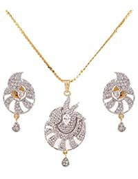 IGP Fashion Jewellery Gold Plated Chain With American Diamond Studded Stylised Sparkly Pendant With Pair Of Adorable...