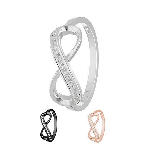 Treuheld® | Ring - Unendlichkeit/Infinity | 925 Sterling Silver | in Silber mit Zirkonia - Kristallen | Ringgröße 62 | Breite 2mm | Damen