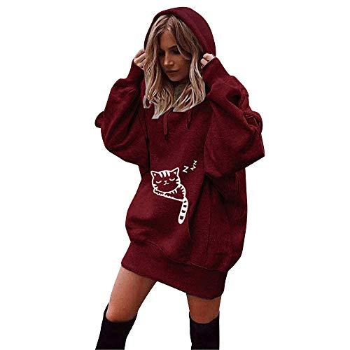 Riou Damen Kapuzenpullover Hoodie Pullover,Frauen Elegante Blusen Oberteil Sweatshirt Langarmshirt Outerwear Frauen Einfarbig Kleidung Hoodies Pullover Mantel Hoody Sweatshirt (M, Rot B) - Kleidung Pullover
