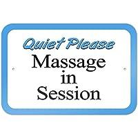 bienternary Placa decorativa de aluminio con texto en inglés Quiet Please Massage in Session 9 x 6
