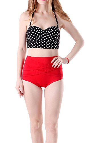 DELEY Donne Retro Pois Vita Alta Push Up Bikini Sexy Beachwear Costume Da Bagno Nero/Rosso