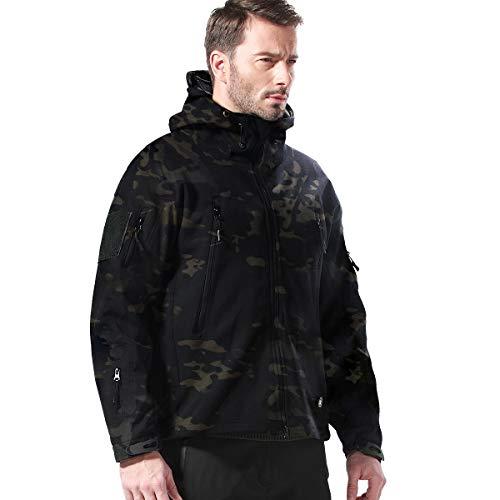 FREE SOLDIER Herren Jacken Outdoor Wasserdicht Softshell-Kapuze Taktische Jacke, Herren, Dark Camouflage, Small Athletic Works-jacke