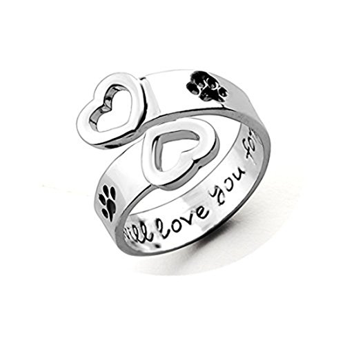 Cane artiglio anello di coppia cuore Pet Memorial Ring i will Love you Forever