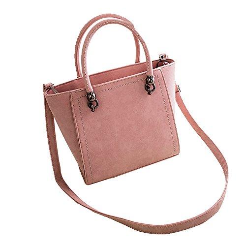 Wenyujh Damen Handtasche Retro Umhängetasche Schultertasche Groß Einfarbig Rosa
