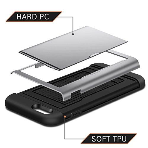 iPhone 7 Cover,Coolden® Nero Hybrid Dual Protezione Rigida PC + Soft TPU Shock-Absorption Rugged Armor Bumper Case Portafoglio Custodia Cover per iPhone 7(4.7 Pollici) Grigio