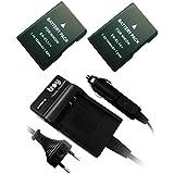 Troy - 2 x Batteries rechargeables + chargeur dans un ensemble pour Nikon D3100, D3200, D5100, D5200, D5300, D5500, D5600, P7000, P7100, P7700 remplacé EN-EL14, ENEL14
