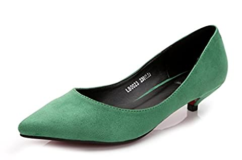Katypeny Women's Slip On Pointed Toe Low Kitten Mid Low Heel Work Pumps Court Shoes Green Suede Leather EU Size