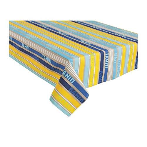 Home Stories 10637 Nappe en Coton, Motif Bayadère. 150X250cm. Multi Bleu Jaune. Mango