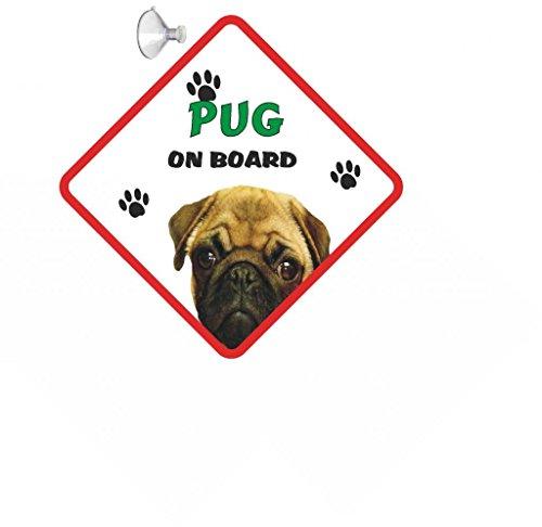 Mops (Fawn) Hund für Auto mit signal Gummi Saugnapf 200