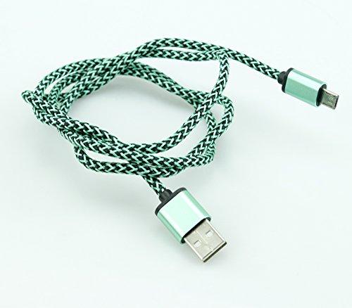 Cable de carga USB - micro USB, longitud de 1 m - compatible con los teléfonos móviles Android (Samsung, Nokia, LG, Sony, Wiko...) y tabletas Android - Verde