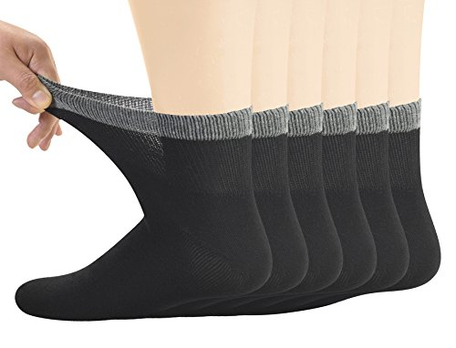 Yomandamor Men's Bamboo Diabetic Ankle Socks With Non-binding Top and Seamless Toe,6 Pairs Size 6-11 UK 38-46 EU